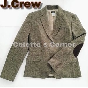 J.Crew Tweed Hacking Blazer W/ Brown Elbow Patches